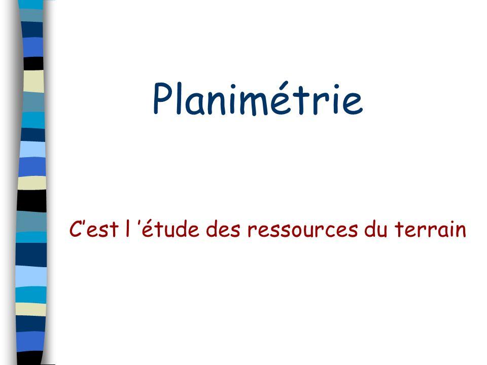 Planimétrie Cest l étude des ressources du terrain