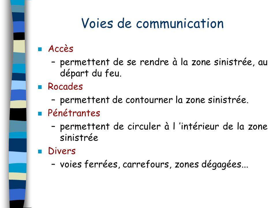 Voies de communication n Accès –permettent de se rendre à la zone sinistrée, au départ du feu. n Rocades –permettent de contourner la zone sinistrée.