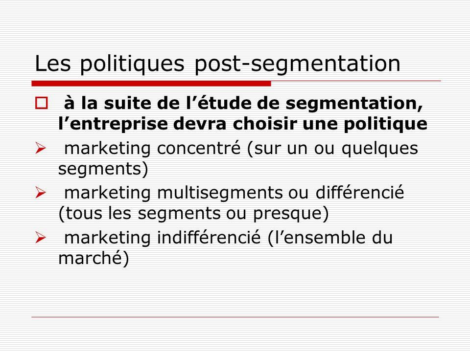 Les politiques post-segmentation à la suite de létude de segmentation, lentreprise devra choisir une politique marketing concentré (sur un ou quelques
