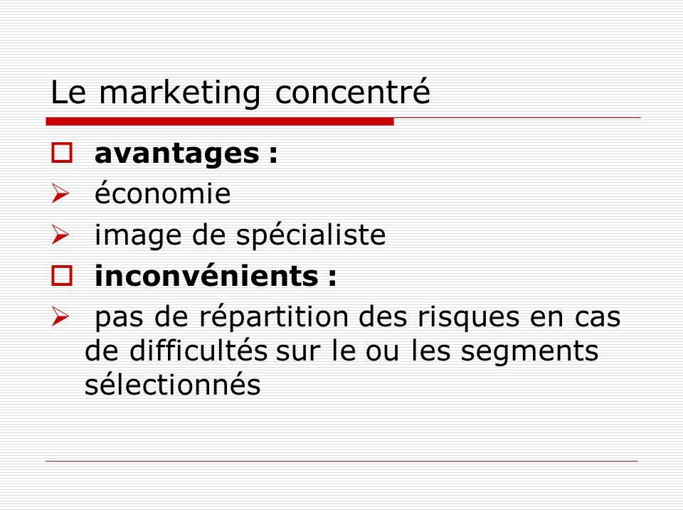 Le marketing concentré avantages : économie image de spécialiste inconvénients : pas de répartition des risques en cas de difficultés sur le ou les segments sélectionnés