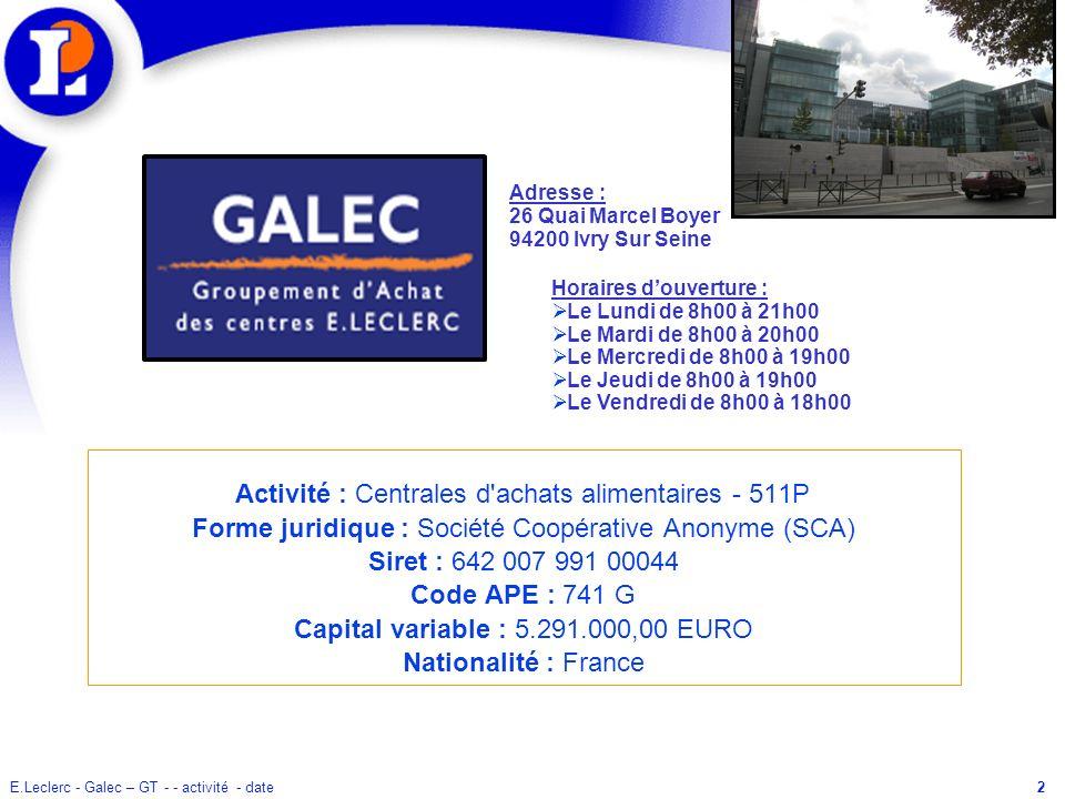 E.Leclerc - Galec – GT - - activité - date3 SOMMAIRE I) CONTEXTE GEOGRAPHIQUE 1.1 Zone de couverture 1.2 Zone dactivité 1.4 Implantation en Europe 1.5 Plan de batiment Partitio II) CONTEXTE ORGANISATIONEL 2.1 Galec dans le Mouvement E.Leclerc 2.2 Organigrame du Galec 2.3 Répartition des fonctions 2.4 Type de management III) CONTEXTE COMMERCIAL 3.1 Produits 3.2 Profil de la clientèle 3.3 Lanalyse concurrentielle 3.4 Lanalyse du CA 3.5 Part de marché 3.6 Taux de pénétration 3.7 Plan Promo 3.8 Image