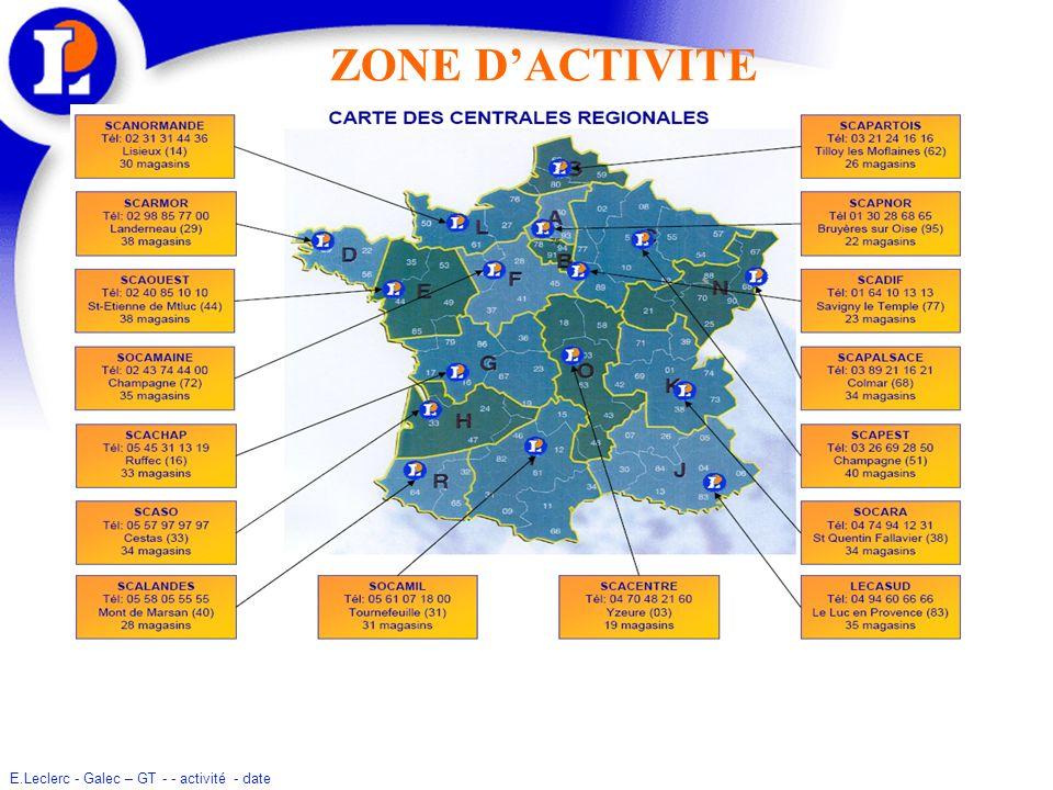 E.Leclerc - Galec – GT - - activité - date IMPLANTATION EN EUROPE Au 1er octobre 2008, le Mouvement E.Leclerc compte 79 magasins à linternational