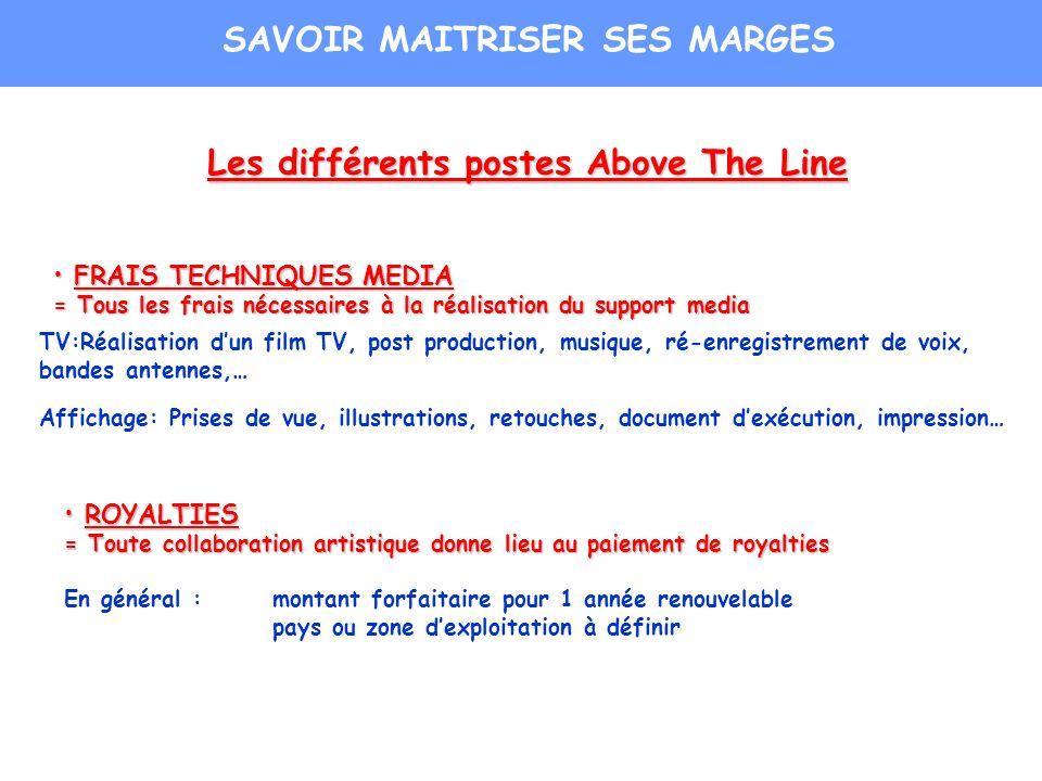 Les différents postes Above The Line FRAIS TECHNIQUES MEDIA FRAIS TECHNIQUES MEDIA = Tous les frais nécessaires à la réalisation du support media TV:R