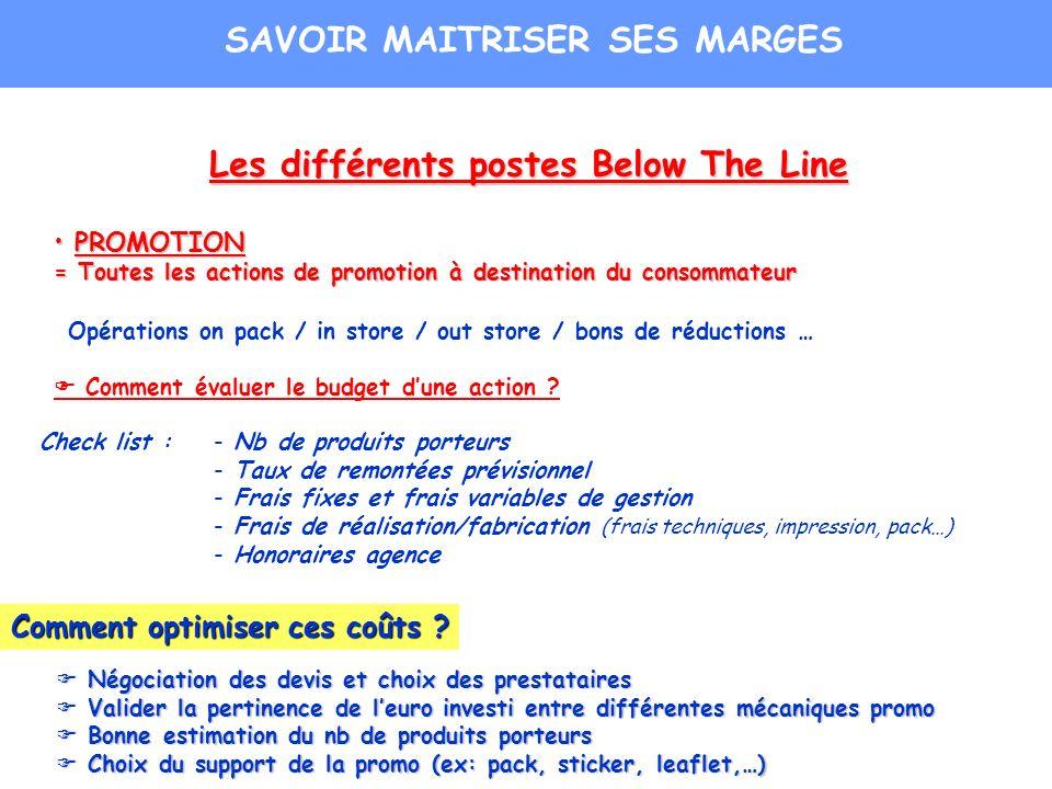 Les différents postes Below The Line PROMOTION PROMOTION = Toutes les actions de promotion à destination du consommateur Opérations on pack / in store