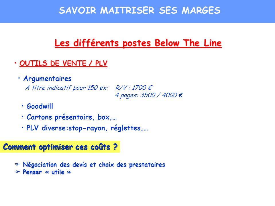 Les différents postes Below The Line OUTILS DE VENTE / PLV OUTILS DE VENTE / PLV Argumentaires A titre indicatif pour 150 ex: R/V : 1700 4 pages: 3500