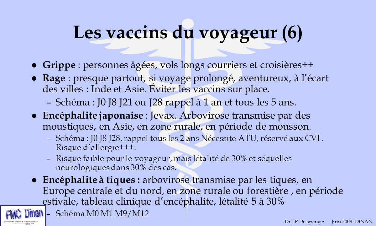 Les vaccins du voyageur (6) l Grippe : personnes âgées, vols longs courriers et croisières++ l Rage : presque partout, si voyage prolongé, aventureux,