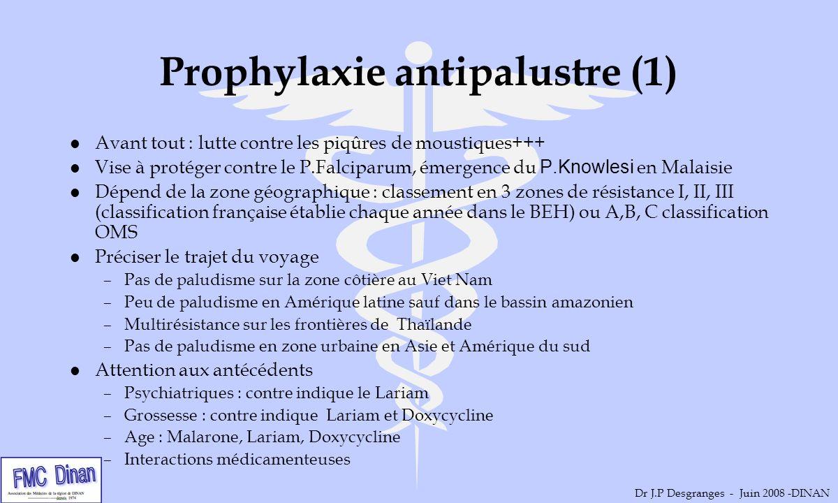 Prophylaxie antipalustre (1) l Avant tout : lutte contre les piqûres de moustiques+++ Vise à protéger contre le P.Falciparum, émergence du P.Knowlesi