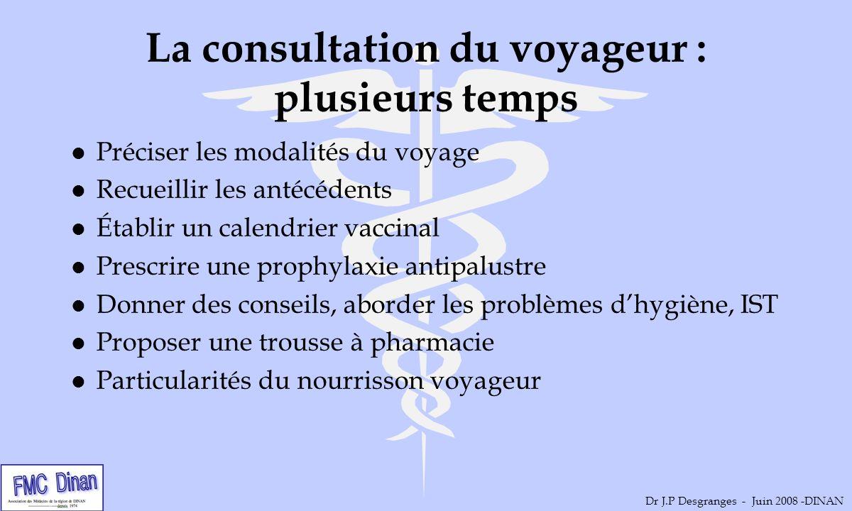 La consultation du voyageur : plusieurs temps l Préciser les modalités du voyage l Recueillir les antécédents l Établir un calendrier vaccinal l Presc