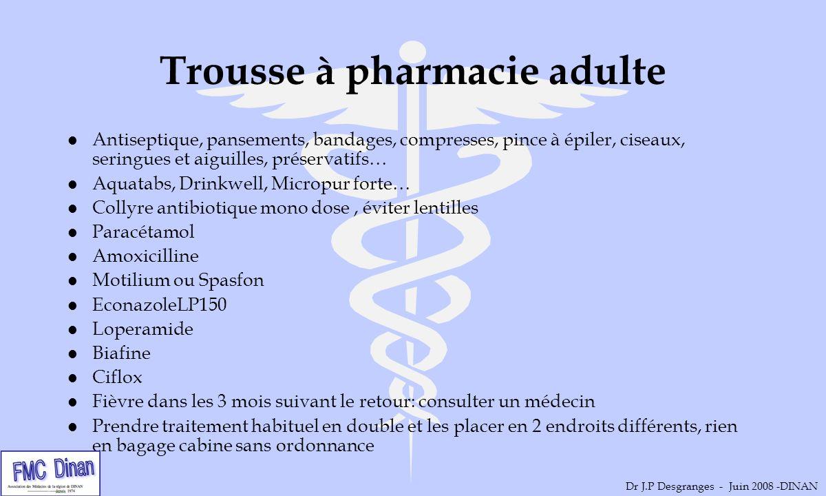 Trousse à pharmacie adulte l Antiseptique, pansements, bandages, compresses, pince à épiler, ciseaux, seringues et aiguilles, préservatifs… l Aquatabs