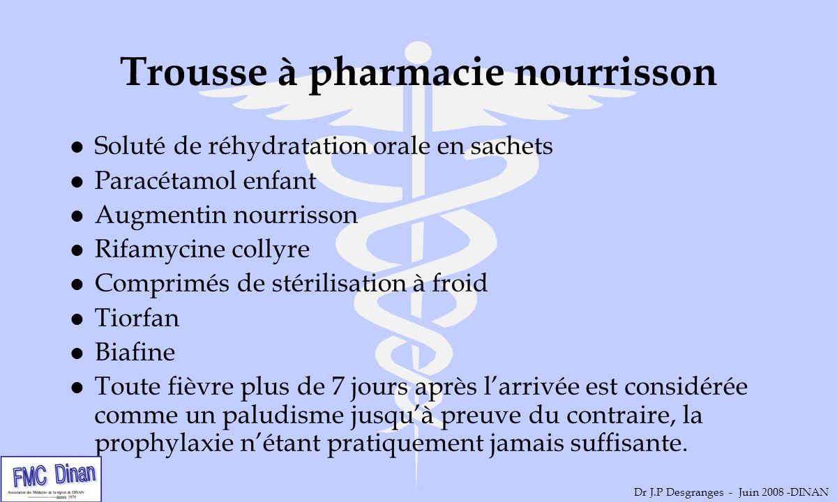 Trousse à pharmacie nourrisson l Soluté de réhydratation orale en sachets l Paracétamol enfant l Augmentin nourrisson l Rifamycine collyre l Comprimés