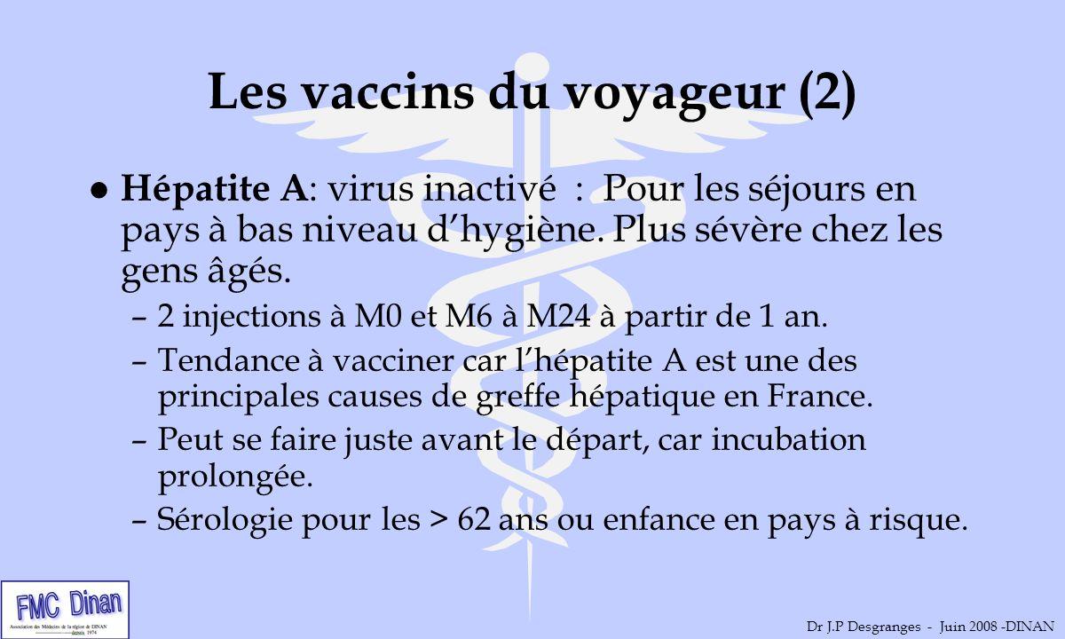 Les vaccins du voyageur (2) l Hépatite A : virus inactivé : Pour les séjours en pays à bas niveau dhygiène. Plus sévère chez les gens âgés. –2 injecti