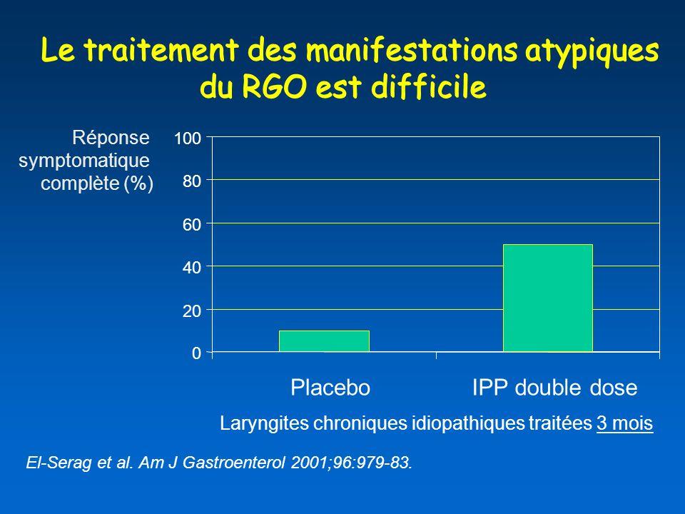 Le traitement des manifestations atypiques du RGO est difficile Le traitement des manifestations atypiques du RGO est difficile El-Serag et al.