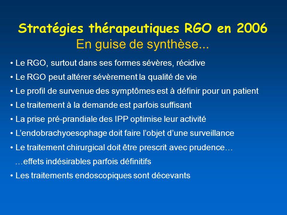 Stratégies thérapeutiques RGO en 2006 En guise de synthèse...