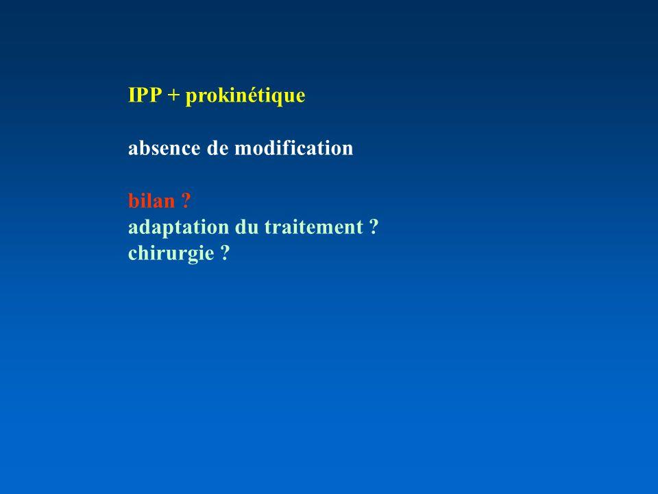 IPP + prokinétique absence de modification bilan ? adaptation du traitement ? chirurgie ?