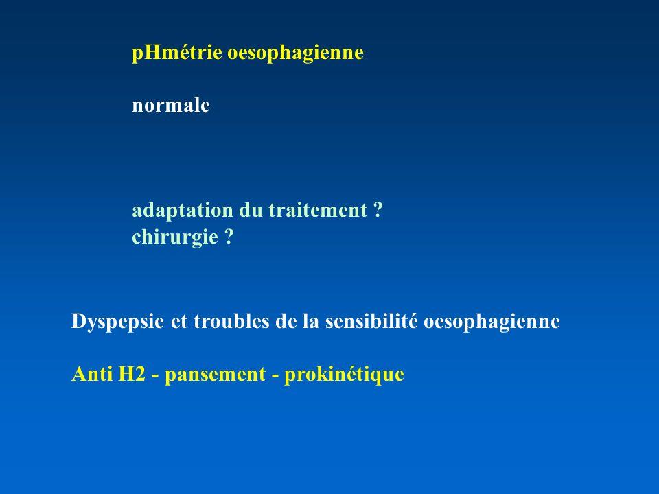 pHmétrie oesophagienne normale adaptation du traitement .