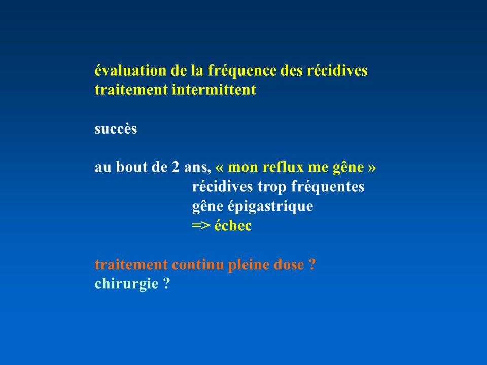 évaluation de la fréquence des récidives traitement intermittent succès au bout de 2 ans, « mon reflux me gêne » récidives trop fréquentes gêne épigastrique => échec traitement continu pleine dose .