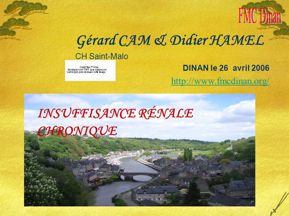 INSUFFISANCE RÉNALE CHRONIQUE Gérard CAM & Didier HAMEL CH Saint-Malo DINAN le 26 avril 2006 http://www.fmcdinan.org/
