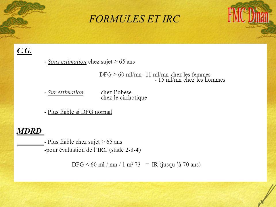 FORMULES ET IRC C.G. - Sous estimation chez sujet > 65 ans DFG > 60 ml/mn- 11 ml/mn chez les femmes - 15 ml/mn chez les hommes - Sur estimation chez l
