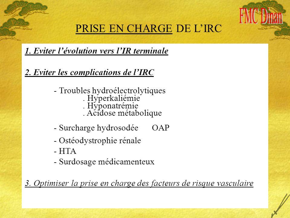 PRISE EN CHARGE DE LIRC 1. Eviter lévolution vers lIR terminale 2. Eviter les complications de lIRC - Troubles hydroélectrolytiques. Hyperkaliémie. Hy