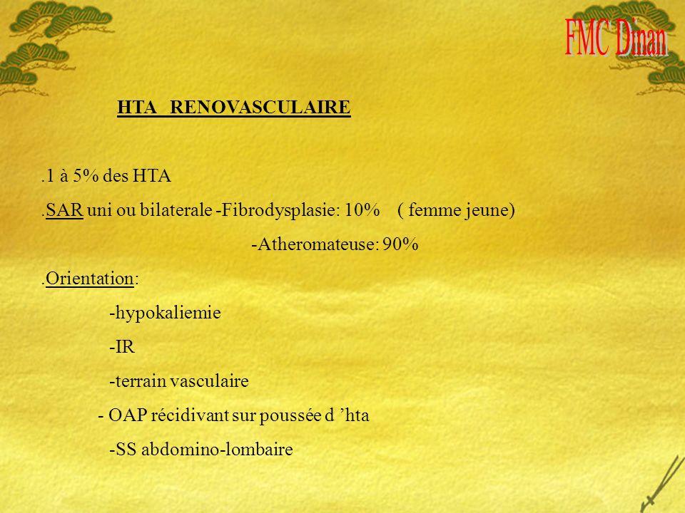 HTA RENOVASCULAIRE.1 à 5% des HTA.SAR uni ou bilaterale -Fibrodysplasie: 10% ( femme jeune) -Atheromateuse: 90%.Orientation: -hypokaliemie -IR -terrain vasculaire - OAP récidivant sur poussée d hta -SS abdomino-lombaire