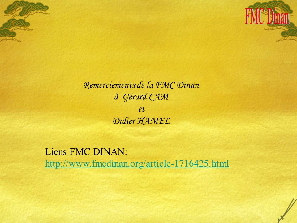 Remerciements de la FMC Dinan à Gérard CAM et Didier HAMEL Liens FMC DINAN: http://www.fmcdinan.org/article-1716425.html