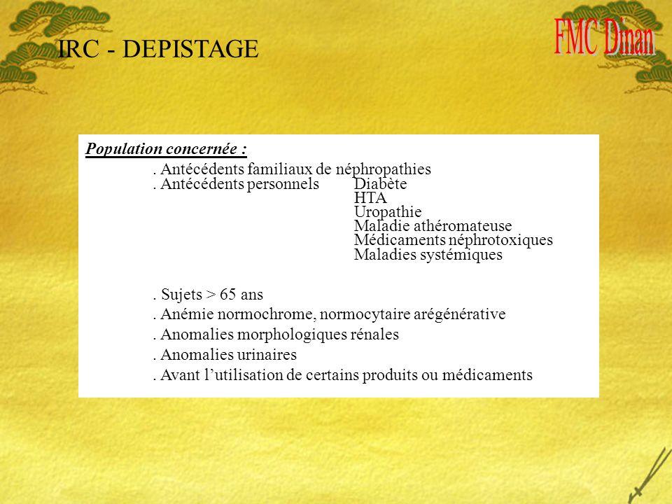 IRC - DEPISTAGE Population concernée :. Antécédents familiaux de néphropathies.