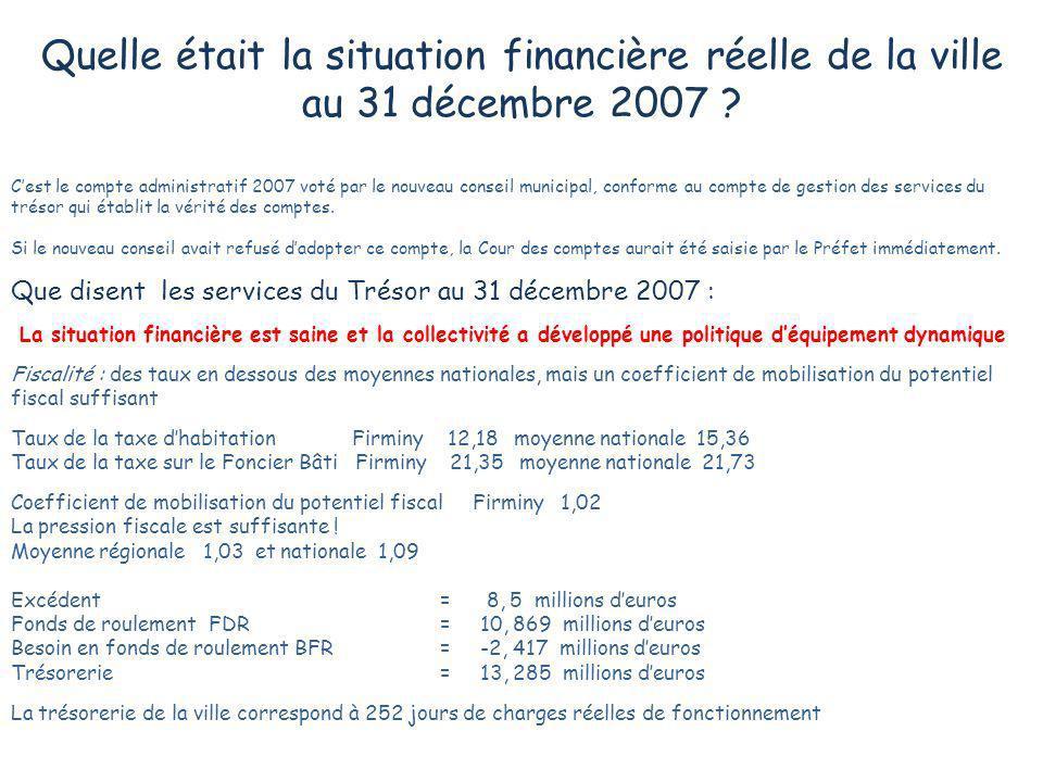 Quelle était la situation financière réelle de la ville au 31 décembre 2007 ? Cest le compte administratif 2007 voté par le nouveau conseil municipal,