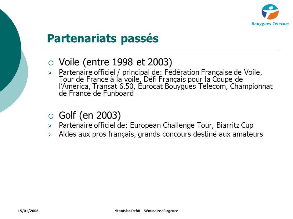 15/01/2008Stanislas Debit – Séminaire durgence Partenariats passés Voile (entre 1998 et 2003) Partenaire officiel / principal de: Fédération Française