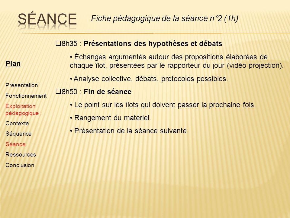 Plan Présentation Fonctionnement Exploitation pédagogique : Contexte Séquence Séance Ressources Conclusion 8h35 : Présentations des hypothèses et déba