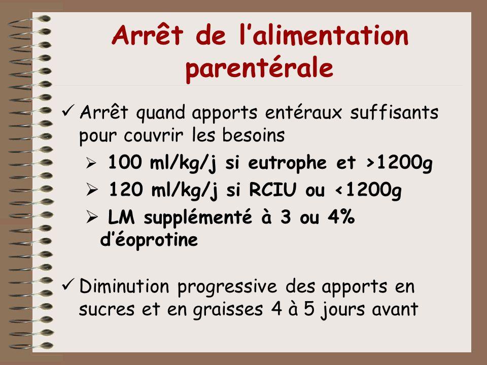 Arrêt de lalimentation parentérale Arrêt quand apports entéraux suffisants pour couvrir les besoins 100 ml/kg/j si eutrophe et >1200g 120 ml/kg/j si R