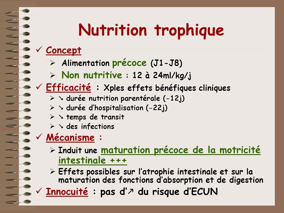 Nutrition trophique Concept Alimentation précoce (J1-J8) Non nutritive : 12 à 24ml/kg/j Efficacité : Xples effets bénéfiques cliniques durée nutrition