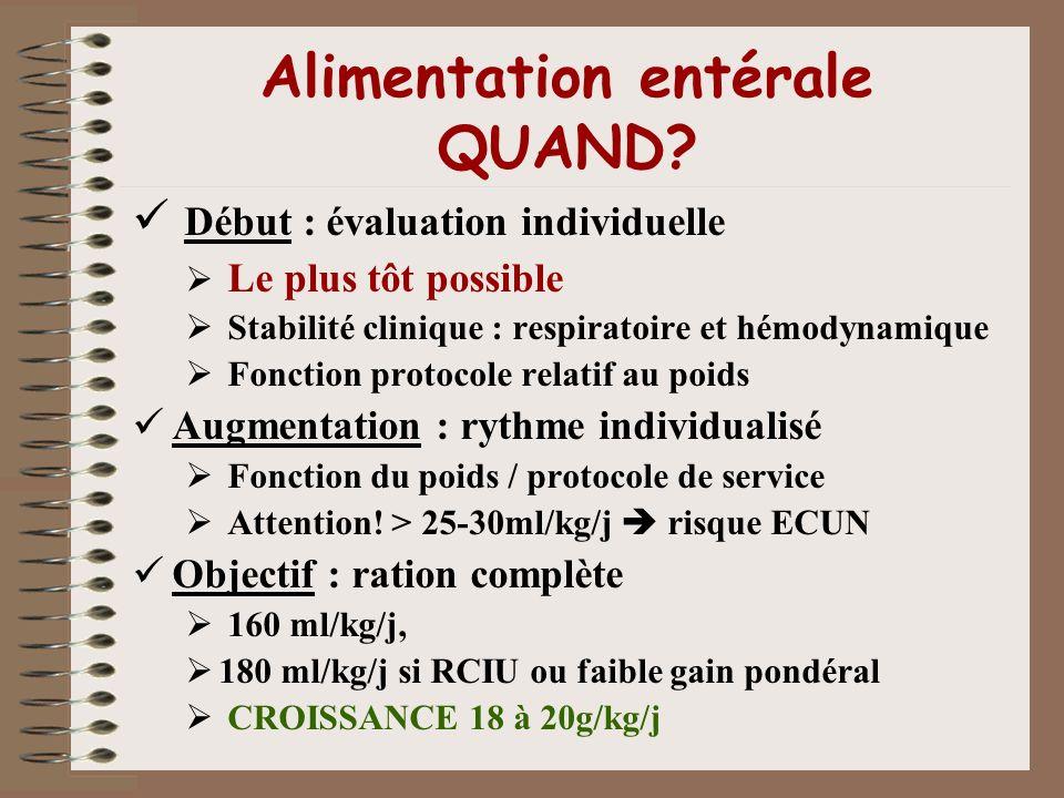 Alimentation entérale QUAND? Début : évaluation individuelle Le plus tôt possible Stabilité clinique : respiratoire et hémodynamique Fonction protocol