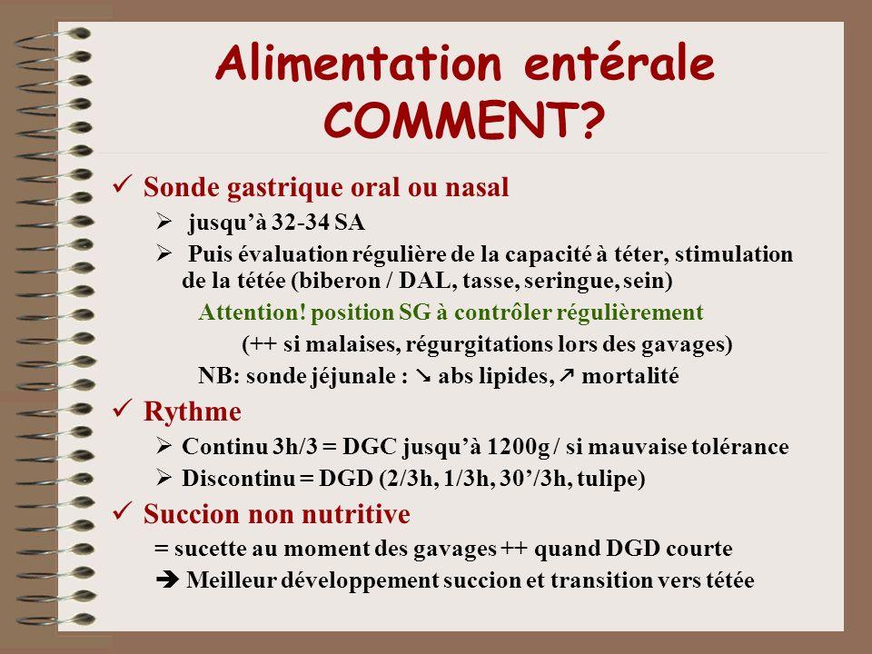 Alimentation entérale COMMENT? Sonde gastrique oral ou nasal jusquà 32-34 SA Puis évaluation régulière de la capacité à téter, stimulation de la tétée