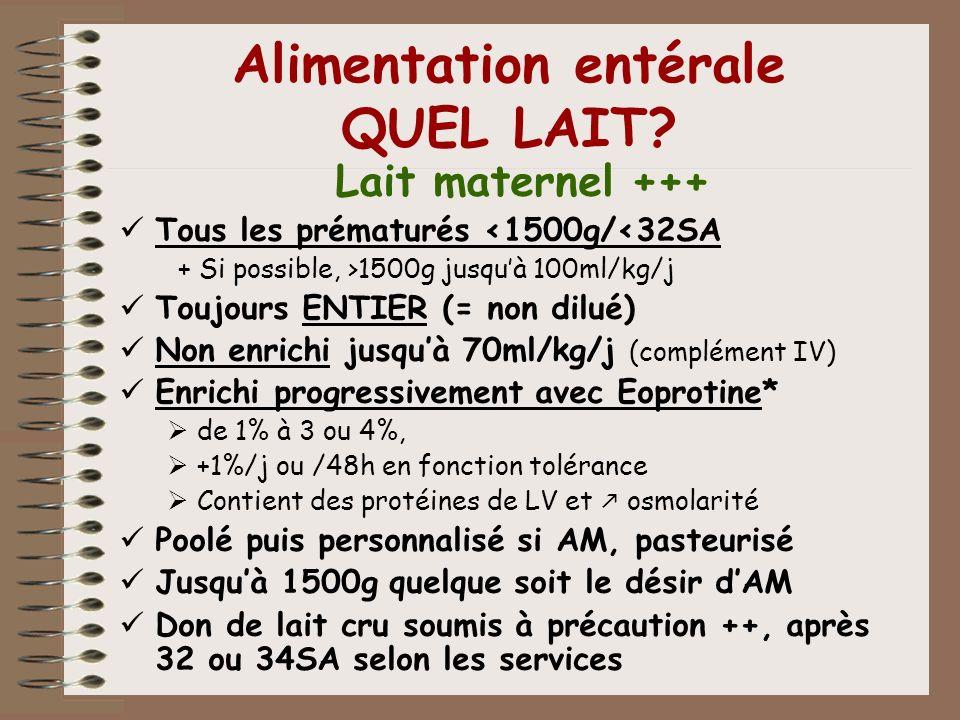 Alimentation entérale QUEL LAIT? Lait maternel +++ Tous les prématurés <1500g/<32SA + Si possible, >1500g jusquà 100ml/kg/j Toujours ENTIER (= non dil