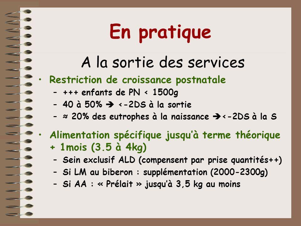 En pratique A la sortie des services Restriction de croissance postnatale –+++ enfants de PN < 1500g –40 à 50% <-2DS à la sortie – 20% des eutrophes à