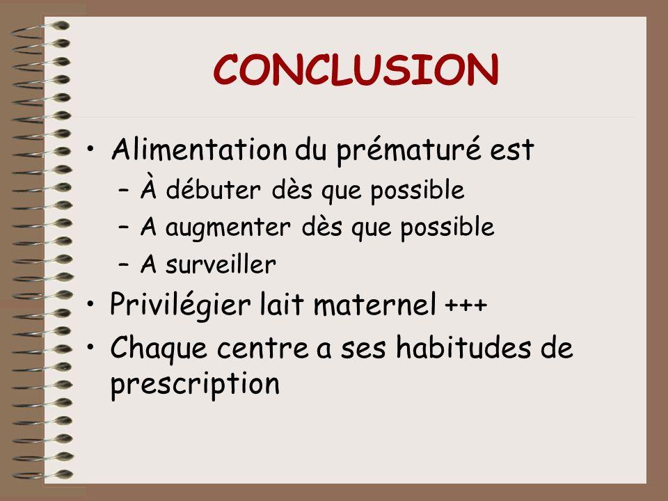 CONCLUSION Alimentation du prématuré est –À débuter dès que possible –A augmenter dès que possible –A surveiller Privilégier lait maternel +++ Chaque