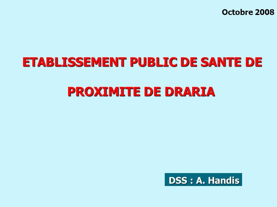 ETABLISSEMENT PUBLIC DE SANTE DE ETABLISSEMENT PUBLIC DE SANTE DE PROXIMITE DE DRARIA Octobre 2008 DSS : A. Handis