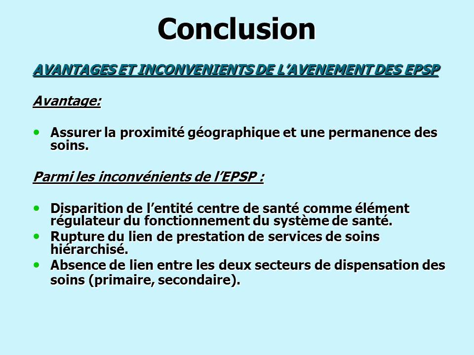 Conclusion AVANTAGES ET INCONVENIENTS DE LAVENEMENT DES EPSP Avantage: Assurer la proximité géographique et une permanence des soins. Assurer la proxi
