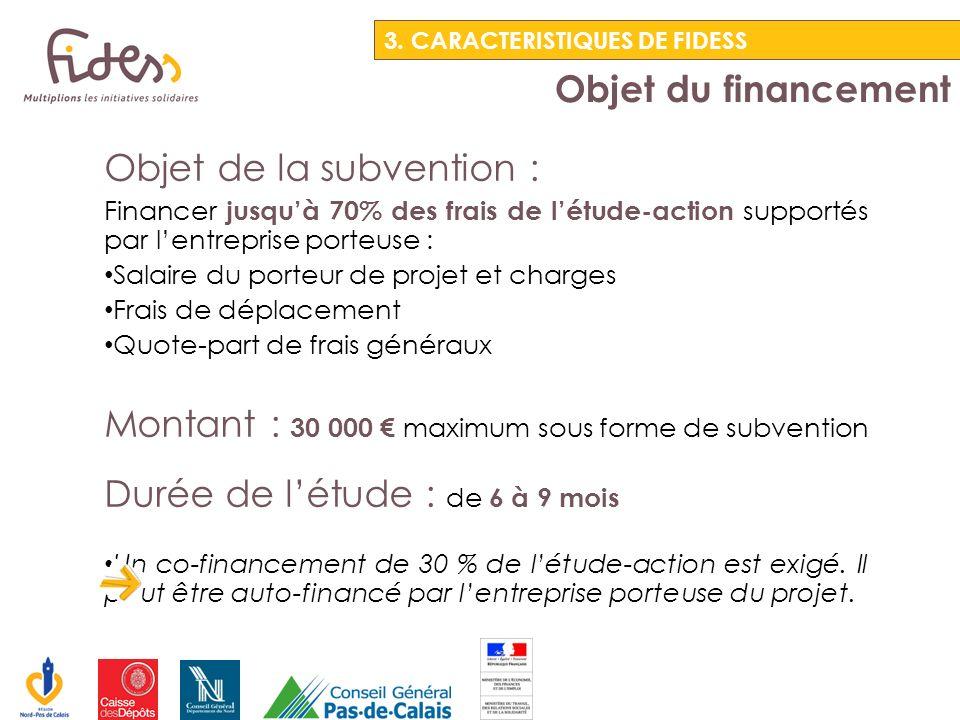 Objet du financement 3. CARACTERISTIQUES DE FIDESS Objet de la subvention : Financer jusquà 70% des frais de létude-action supportés par lentreprise p