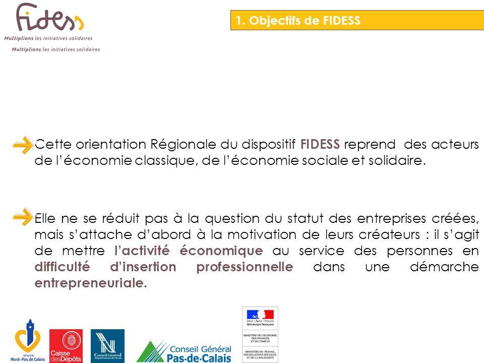 Cette orientation Régionale du dispositif FIDESS reprend des acteurs de léconomie classique, de léconomie sociale et solidaire. Elle ne se réduit pas