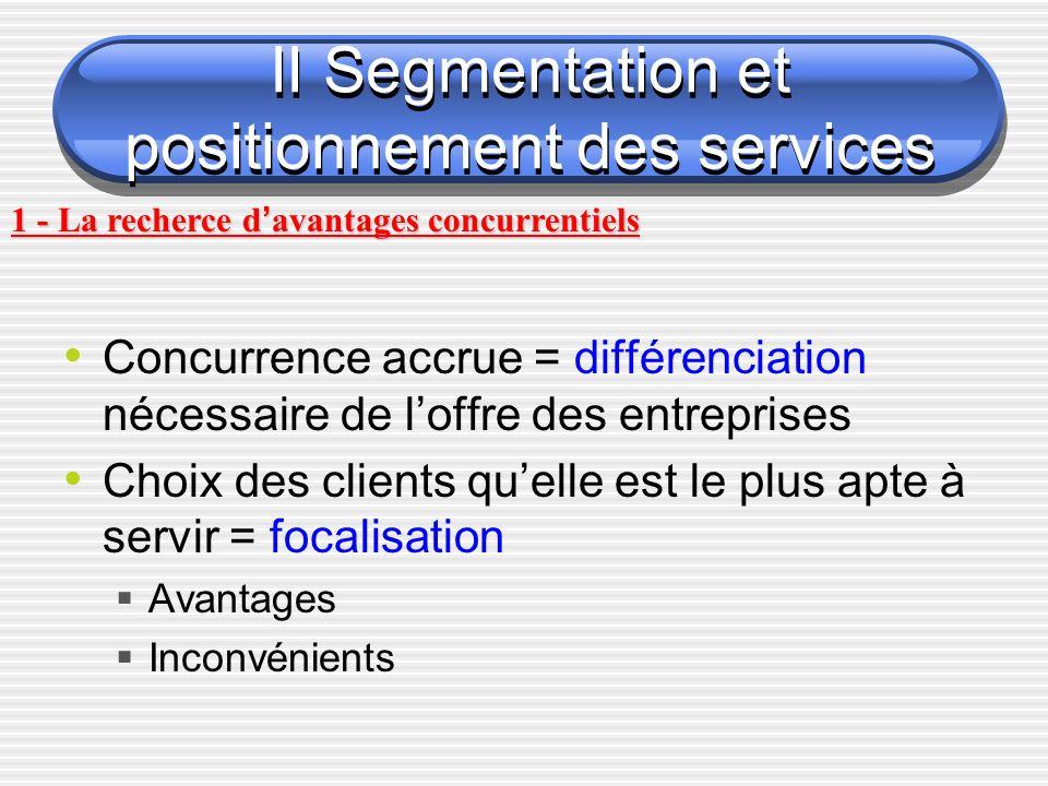 II Segmentation et positionnement des services Concurrence accrue = différenciation nécessaire de loffre des entreprises Choix des clients quelle est le plus apte à servir = focalisation Avantages Inconvénients 1 - La recherce d avantages concurrentiels
