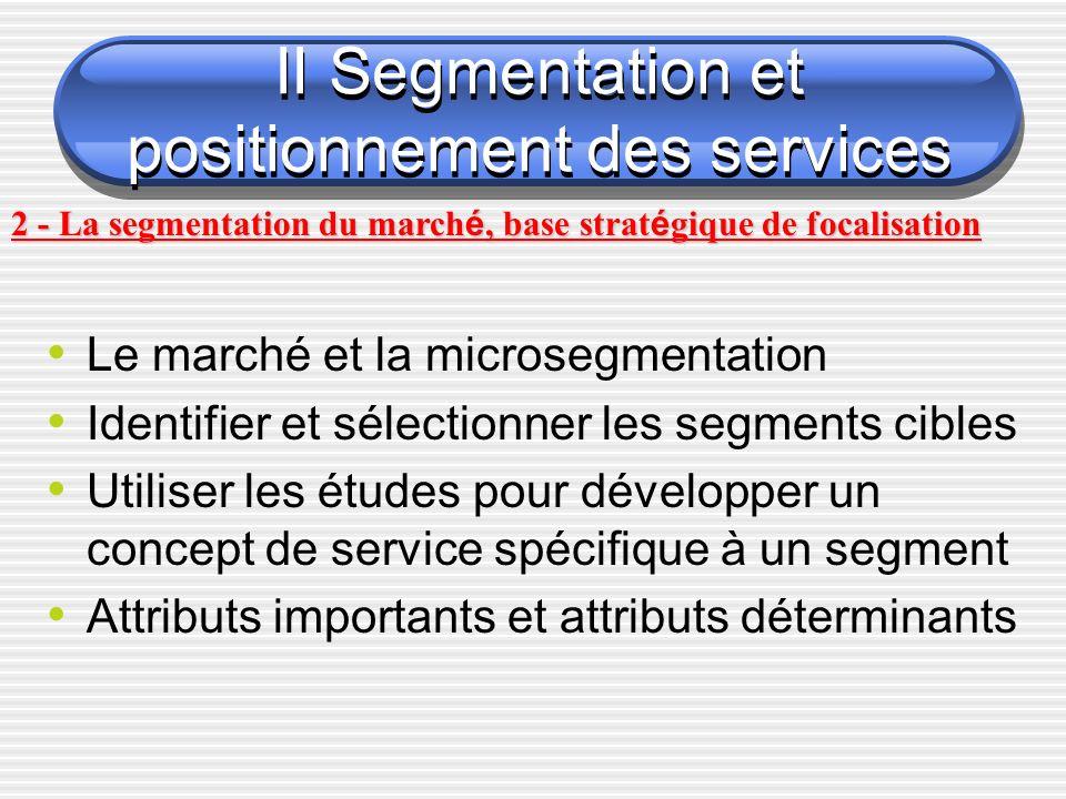 Le marché et la microsegmentation Identifier et sélectionner les segments cibles Utiliser les études pour développer un concept de service spécifique à un segment Attributs importants et attributs déterminants II Segmentation et positionnement des services 2 - La segmentation du march é, base strat é gique de focalisation