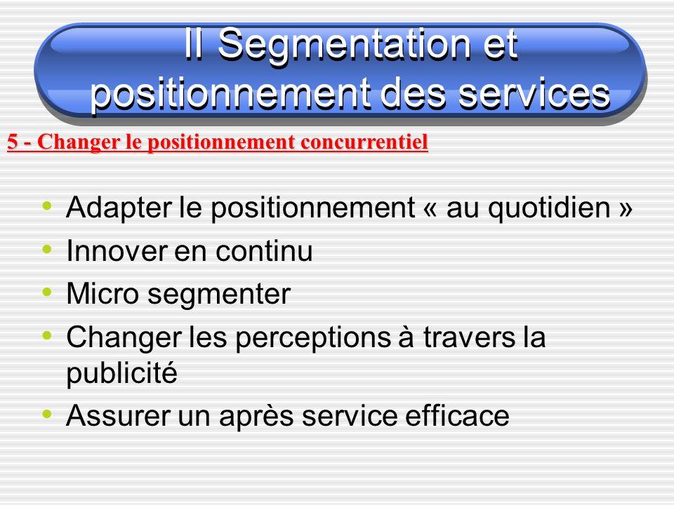 Adapter le positionnement « au quotidien » Innover en continu Micro segmenter Changer les perceptions à travers la publicité Assurer un après service efficace 5 - Changer le positionnement concurrentiel II Segmentation et positionnement des services