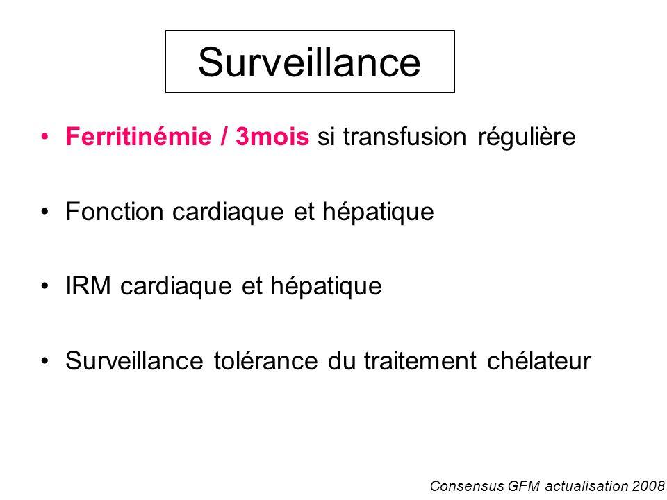 Surveillance Ferritinémie / 3mois si transfusion régulière Fonction cardiaque et hépatique IRM cardiaque et hépatique Surveillance tolérance du traite