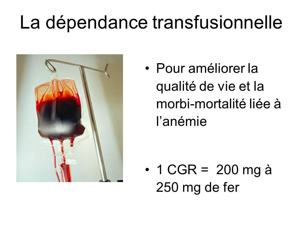 Mécanismes de la surcharge en fer dans les SMD Dysérythropoièse Anémie réfractaire Dreyfus, blood reviews 2008 Surcharge en fer Dépendance transfusionnelle 1 CGR = 200 à 250 mg de fer Hyper absorption de fer