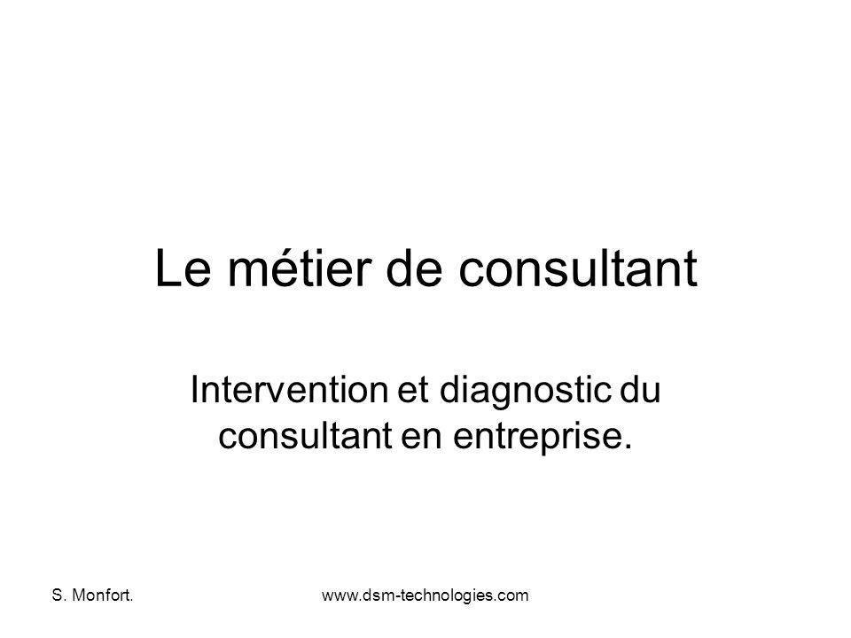 S. Monfort.www.dsm-technologies.com Le métier de consultant Intervention et diagnostic du consultant en entreprise.