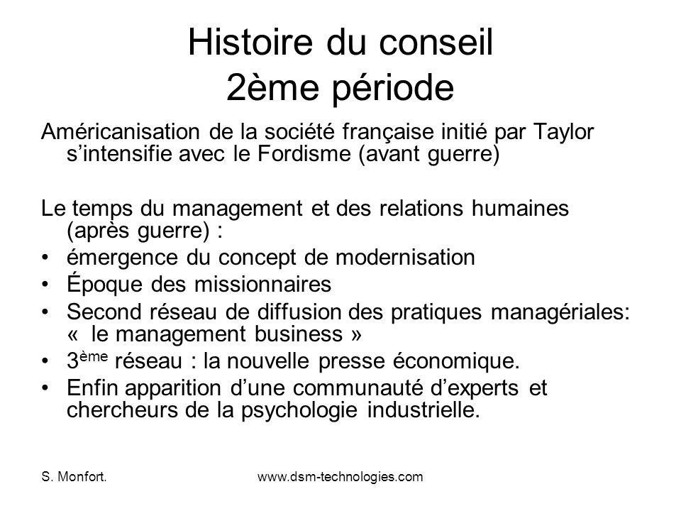 S. Monfort.www.dsm-technologies.com Histoire du conseil 2ème période Américanisation de la société française initié par Taylor sintensifie avec le For
