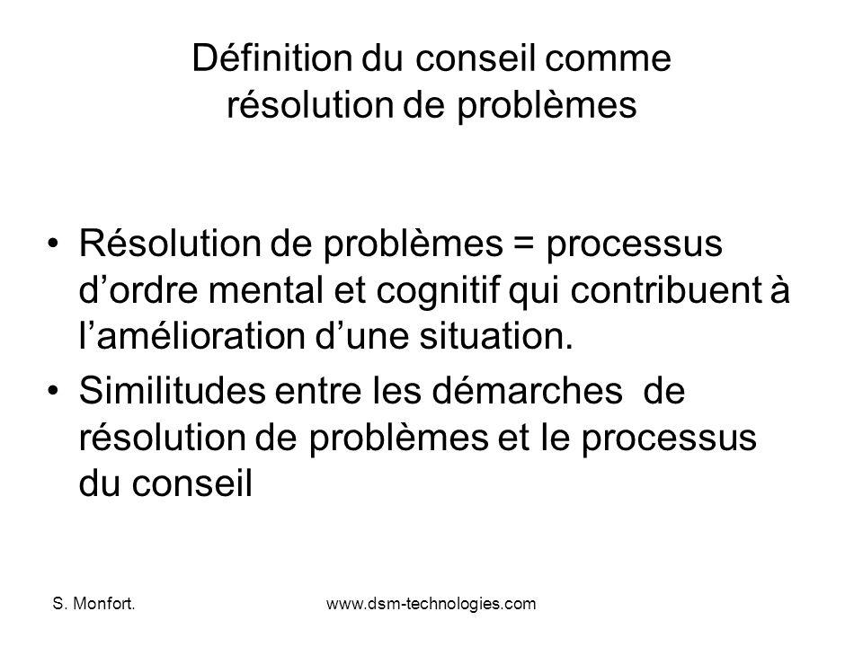 S. Monfort.www.dsm-technologies.com Définition du conseil comme résolution de problèmes Résolution de problèmes = processus dordre mental et cognitif