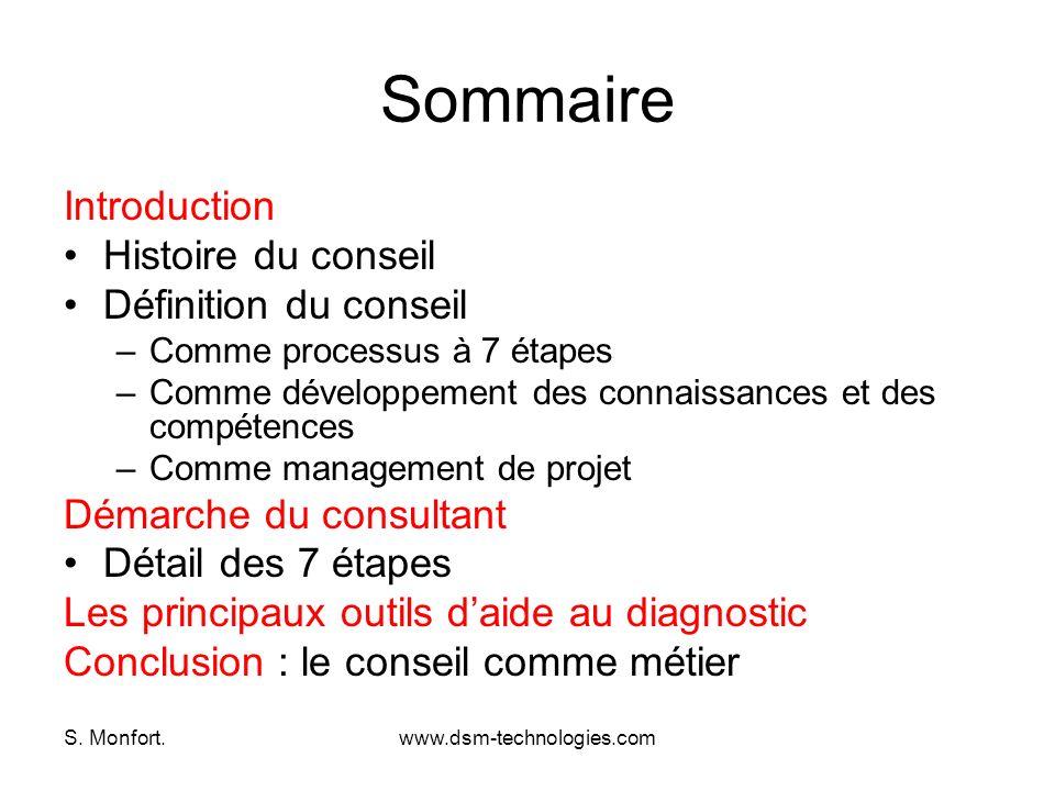 S. Monfort.www.dsm-technologies.com Sommaire Introduction Histoire du conseil Définition du conseil –Comme processus à 7 étapes –Comme développement d