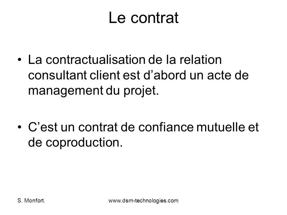 S. Monfort.www.dsm-technologies.com Le contrat La contractualisation de la relation consultant client est dabord un acte de management du projet. Cest